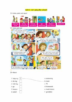 Interactive worksheet Unit 6 - Let-s play after school