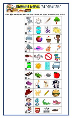 Interactive worksheet CVC words -an- and -at-