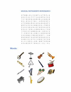 Interactive worksheet Musical instruments wordsearch
