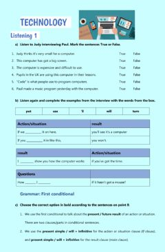 Interactive worksheet Technology - first and second conditional