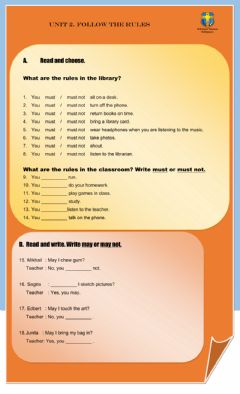 Interactive worksheet Follow The Rules