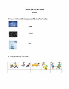 Interactive worksheet Science - Matter