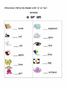 Interactive worksheet Articles a and an