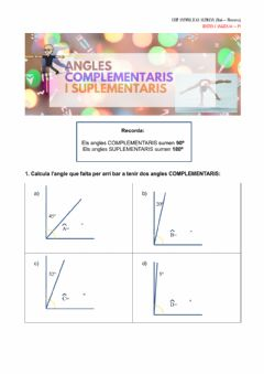 Interactive worksheet Angles complementaris i suplementaris