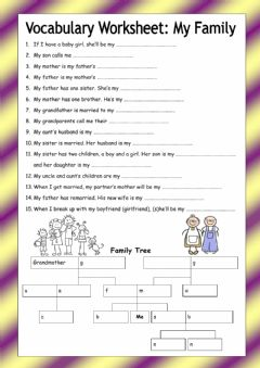 Interactive worksheet Family tree - medium difficulty