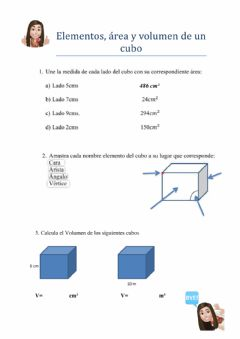 Interactive worksheet Área y volumen del cubo