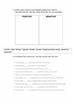 Interactive worksheet Adjectives to describe movies