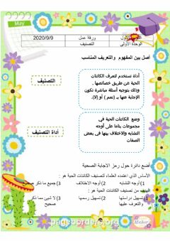Interactive worksheet التصنيف