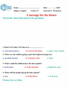 Interactive worksheet A message for the future