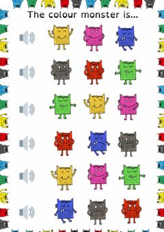 Interactive worksheet Colour monster feelings