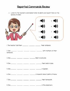 Interactive worksheet Reported Commands Exercise