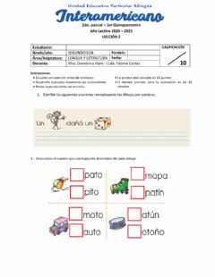 Interactive worksheet Leccion 2 lengua 2do parcial