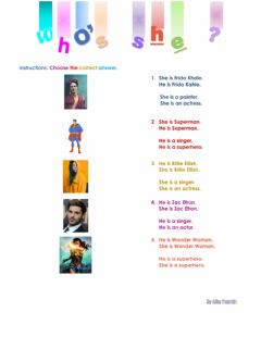 Interactive worksheet Who's she-he?