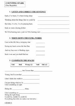 Interactive worksheet COUNTING STARS - One Republic