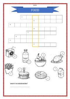 Interactive worksheet Food crosswords