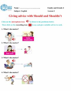 Interactive worksheet Giving advice with should