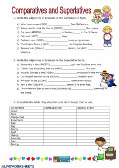 Interactive worksheet Adjectives - Degrees of Comparison