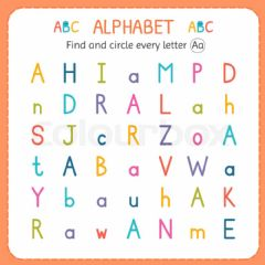 Ficha interactiva Find letter A,a