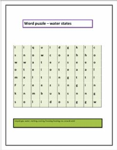 Interactive worksheet Word puzzle water states