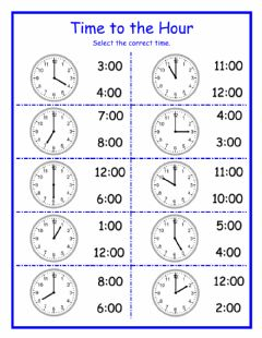 Interactive worksheet Time to the Hour 1