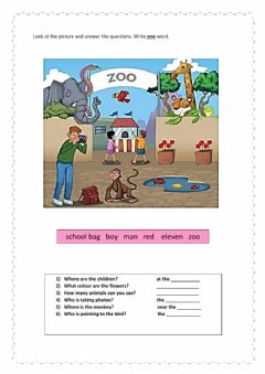 Interactive worksheet Question words task
