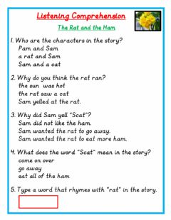 Interactive worksheet The Rat and the Ham