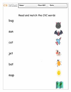 Interactive worksheet CVC matching with pictures