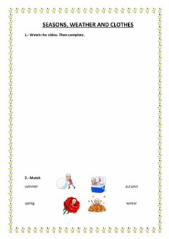 Interactive worksheet Season, weather and clothes