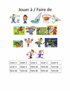 Interactive worksheet Jouer a faire de