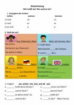 Interactive worksheet wo, wie, Verben