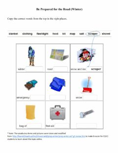 Interactive worksheet Be Prepared for the Road (Winter)