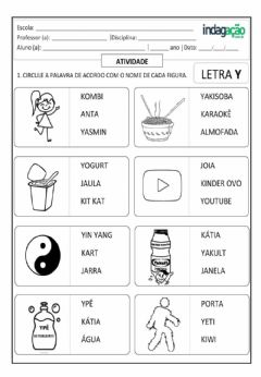 Interactive worksheet Letra y