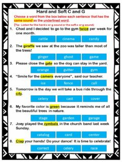 Interactive worksheet Hard and soft g and c