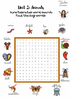 Interactive worksheet Invertebrates word search