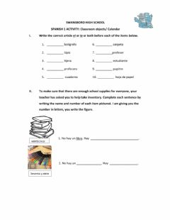 Interactive worksheet Classroom objects and calendar