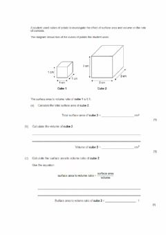 Interactive worksheet Surface area to volume ratio