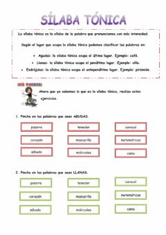 Interactive worksheet La sílaba tónica
