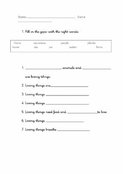 Interactive worksheet Characteristics of Living Things