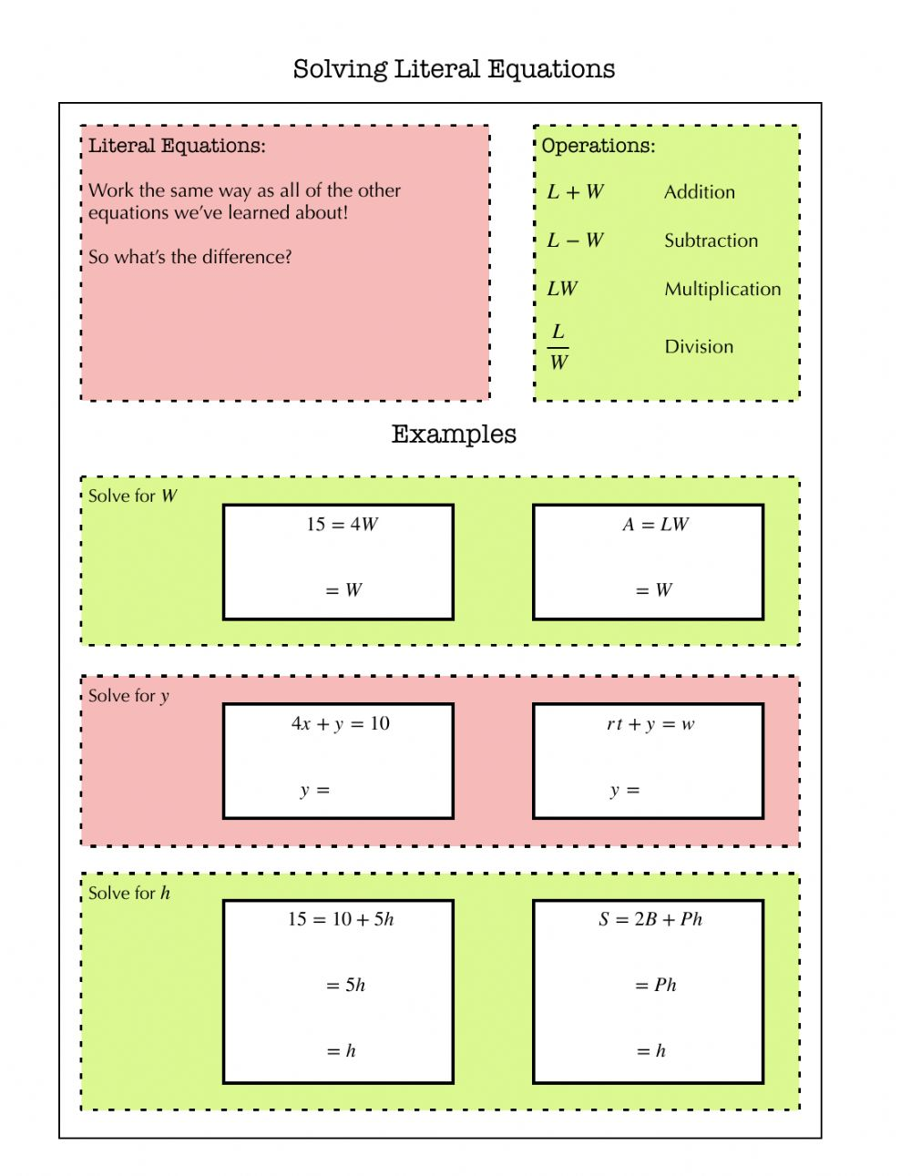 Solving Literal Equations Notes interactive worksheet For Literal Equations Worksheet Answer Key