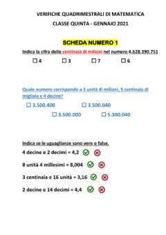 Interactive worksheet Matematica: verifica quadrimestrale