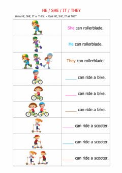 Interactive worksheet He-she-it-They