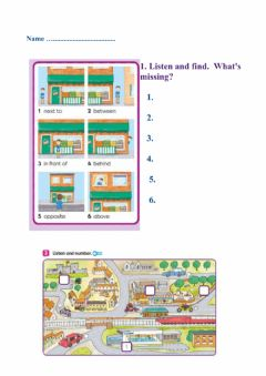 Interactive worksheet The town: places and prepositions