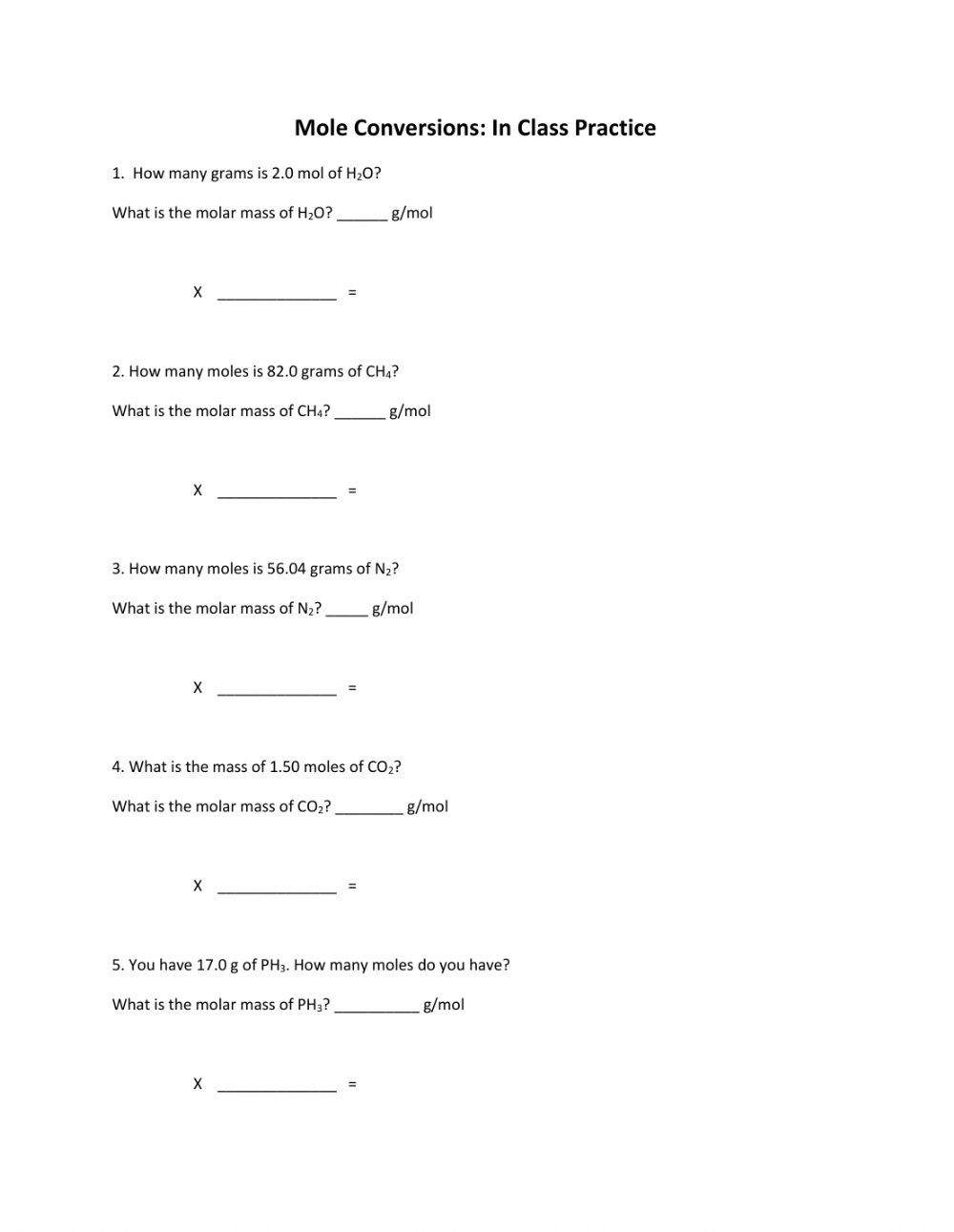 Mole Conversions- In-class practice worksheet For Mole Worksheet 1