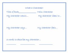 Interactive worksheet What a Character