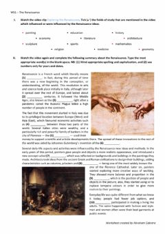 Interactive worksheet The Italian Renaissance