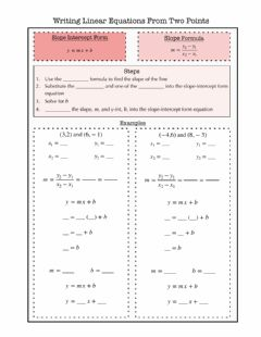 Ficha interactiva Writing Equations Given Two Points Notes