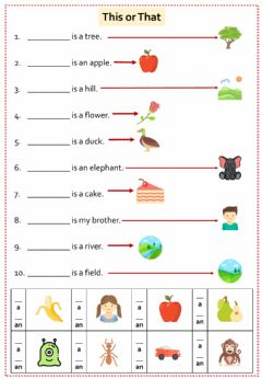 Interactive worksheet This or That - A or AN