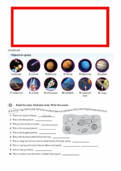Interactive worksheet Vocabulary Planets