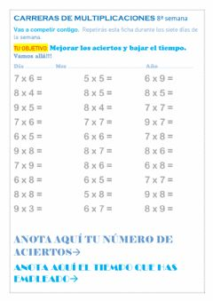 Interactive worksheet Carreras de multiplicaciones