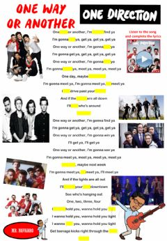 Interactive worksheet ''One Way or Another'' - One Direction (Lyrics Challenge 2)